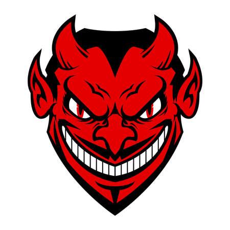 Devil cartoon head vector icon Illustration