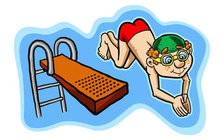 diving platform: kid diving vector illustration