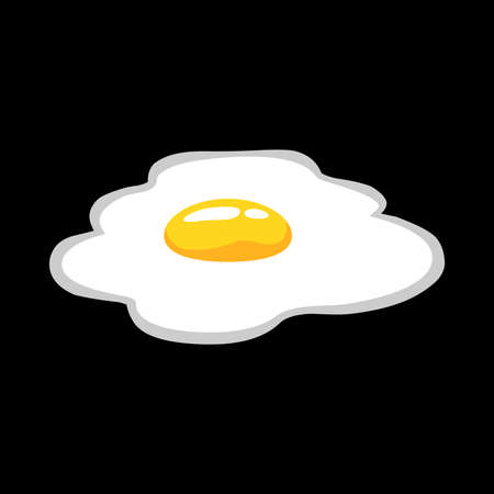 fried: Fried egg vector icon