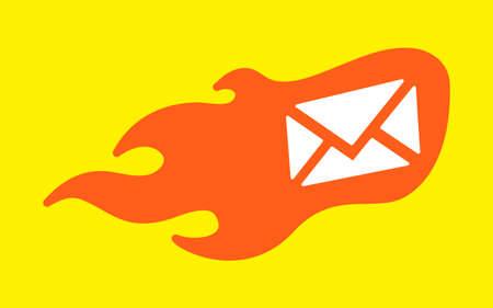 flames vector: Envelope Flames Vector Icon
