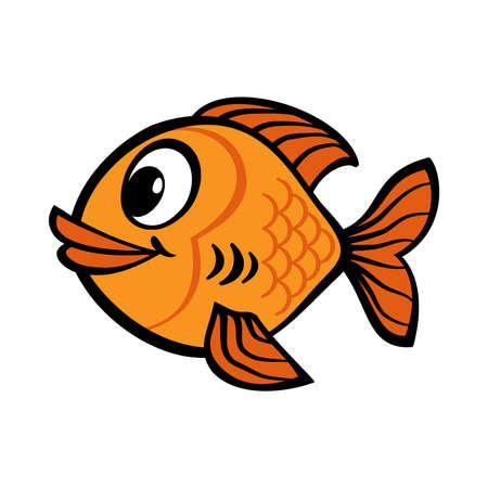 Fish cartoon vector icon Çizim