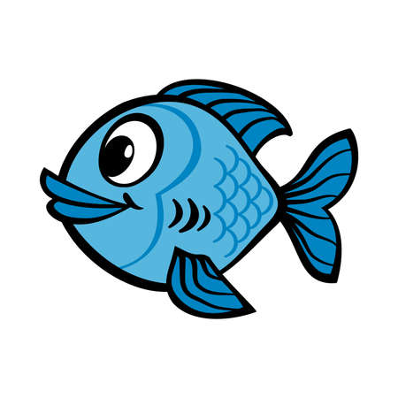 Fish cartoon vector icon Çizim