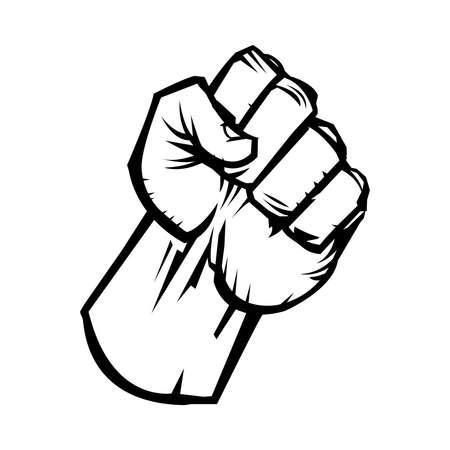 manos levantadas: Criado del vector del icono del pu�o