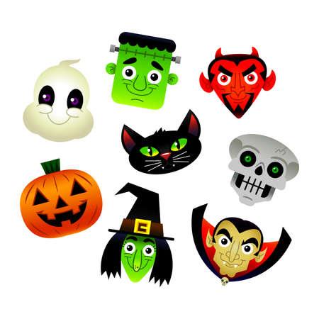 calabaza caricatura: personajes de Halloween