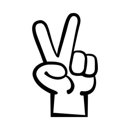 Hand peace sign cartoon vector illustration