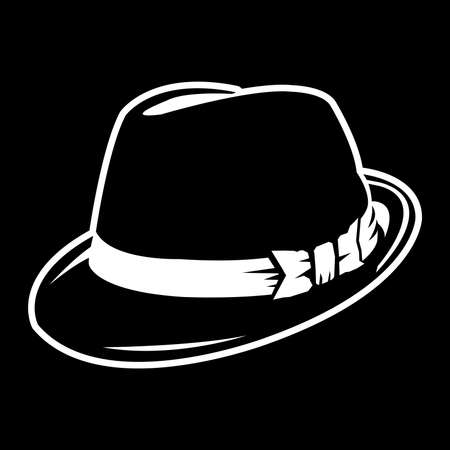 Vector illustration black fedora hat Ilustracja