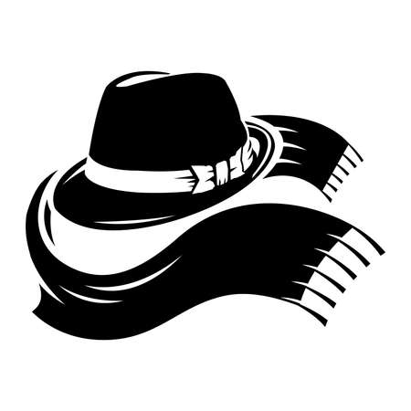 Vector illustration fedora hat and scarf Ilustracja