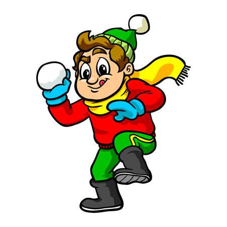 Kid gooien sneeuwbal Vector Illustratie