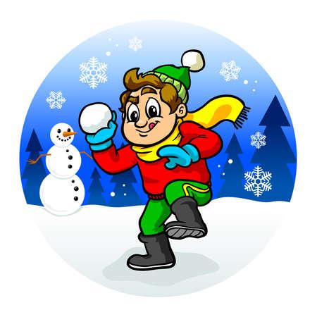 Kid throwing snowball