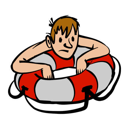 preserver: Man clinging to life preserver cartoon vector illustration