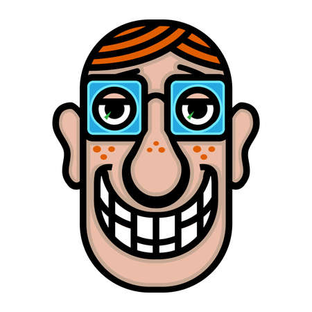 Nerd cartoon face Stock Vector - 49670141
