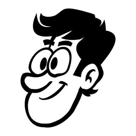 head shot: Man head cartoon vector illustration Illustration