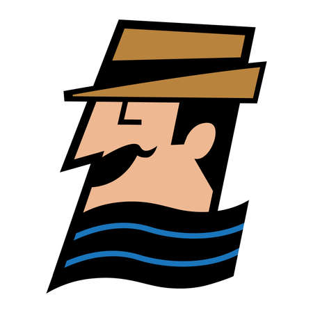Vector cartoon gentleman in a fedora and scarf