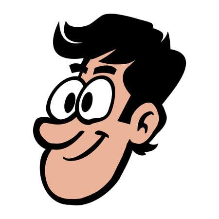 Man head cartoon vector illustration Çizim