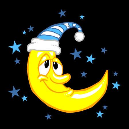 moon and stars: Moon smiling cartoon vector illustration Illustration