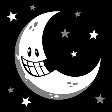 Moon smiling cartoon vector illustration 向量圖像
