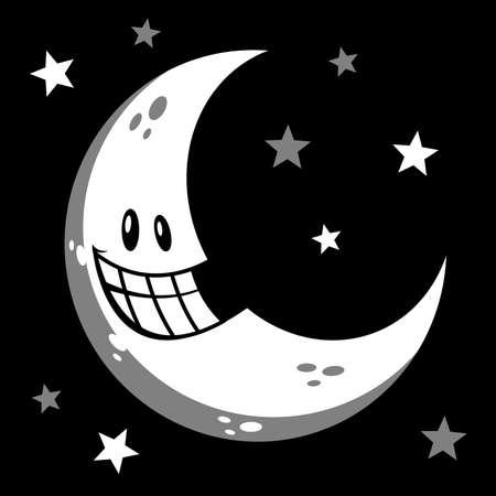 afterglow: Moon smiling cartoon vector illustration Illustration