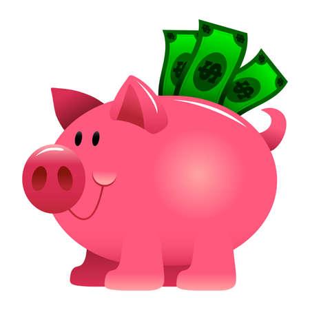 Piggy Bank Cartoon Vector Icon