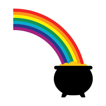 Pot of Gold Rainbow Vector Icon