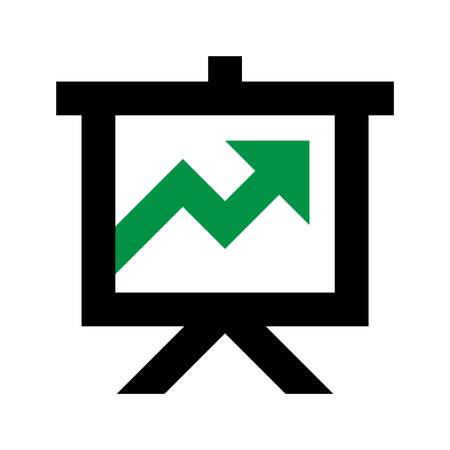 Projector screen green arrow vector icon Çizim