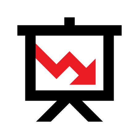 Projector screen with red arrow vector icon