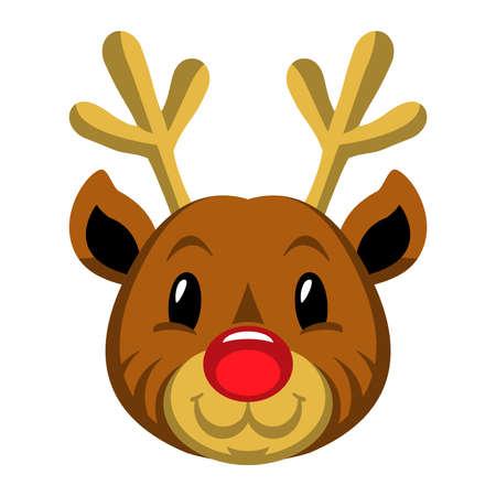 Red Nosed Christmas Reindeer Stock Illustratie
