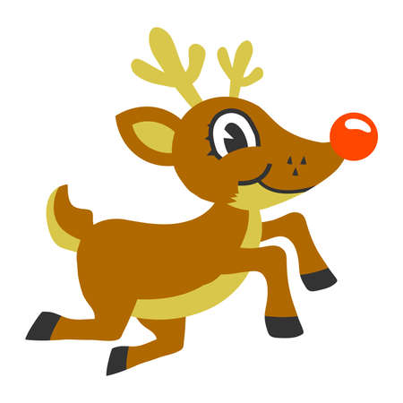 red nosed: Red Nosed Christmas Reindeer Illustration