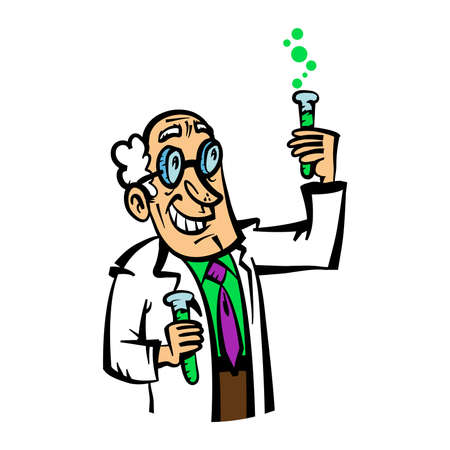 Vector cartoon scientist in a lab coat and purple tie making a chemistry mix in beakers Ilustração