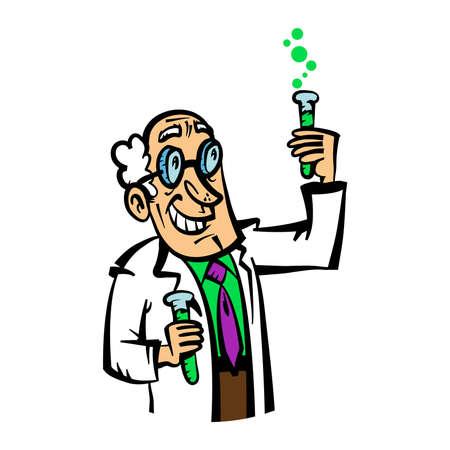 bata de laboratorio: Vector cient�fico de dibujos animados en una bata de laboratorio y lazo p�rpura haciendo una mezcla qu�mica en vasos