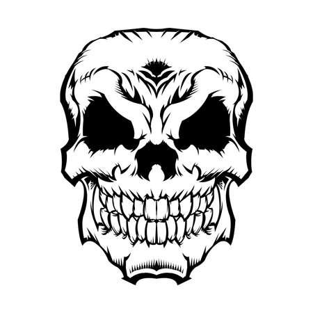 calavera caricatura: Cráneo del vector del icono