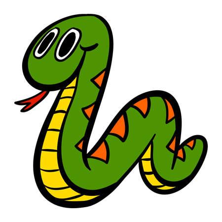 ズルズルかわいい漫画蛇のベクトル イラスト