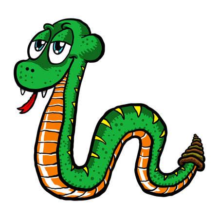 serpiente cobra: Ilustración vectorial de una serpiente deslizándose lindo de la historieta