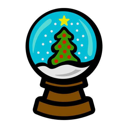 glass dome: Snowglobe vector icon Illustration