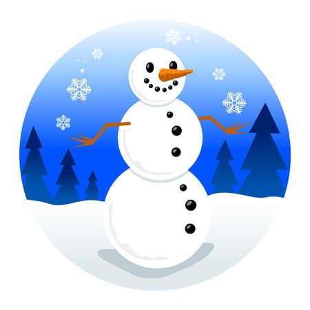snowman cartoon: Snowman cartoon vector illustration Illustration