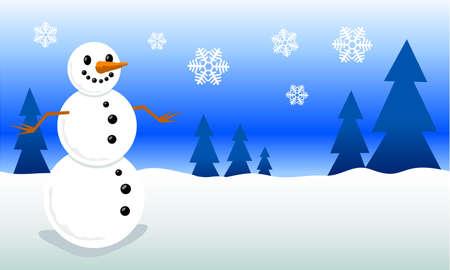 Snowman cartoon vector illustration Illustration