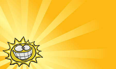 light beams: Cartoon Sun Face Smile Vector Icon