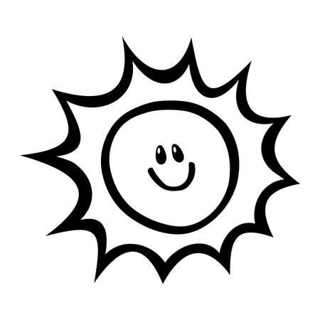 Cartoon Sun Face Smile Vector Icon