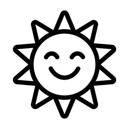 smile icon: Cartoon Sun Face Smile Vector Icon