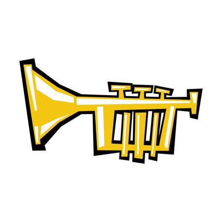 Trumpet cartoon vector icon