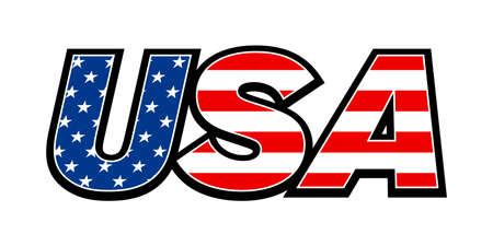 USA flag text Stock Illustratie
