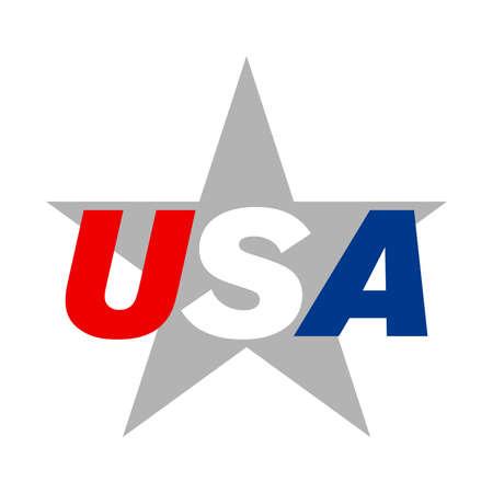 USA text star vector icon