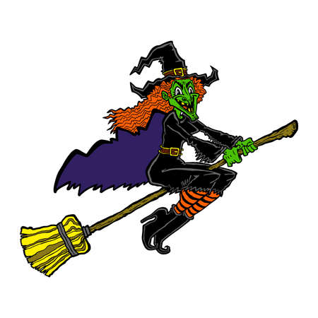 wicked woman: Witch riding a broom cartoon Illustration