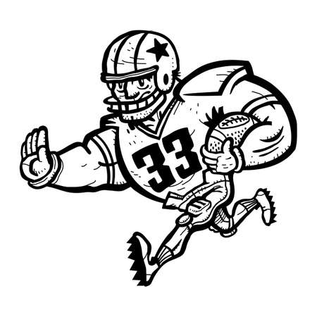 football player: Football Player Cartoon Illustration