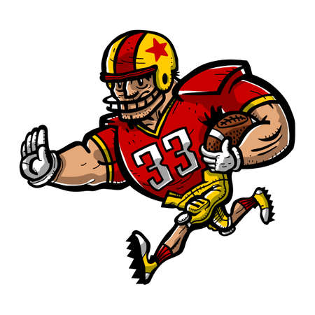 offence: Football Player Cartoon Illustration