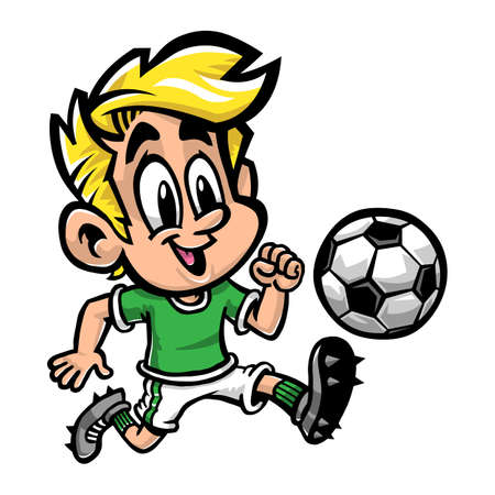 soccer goal: Soccer Kid Cartoon Illustration