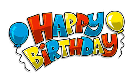 happy holidays text: Happy Birthday Balloons Vector