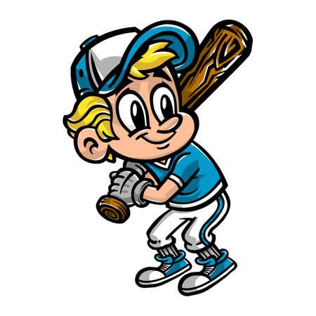kid vector: Jugador de b�isbol ni�o de la historieta del vector