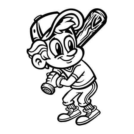 little league: Baseball Player Kid vector cartoon