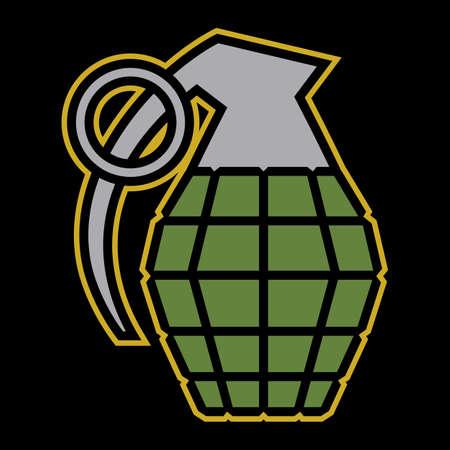 lanzamiento de bala: ilustración vectorial granada de mano Vectores