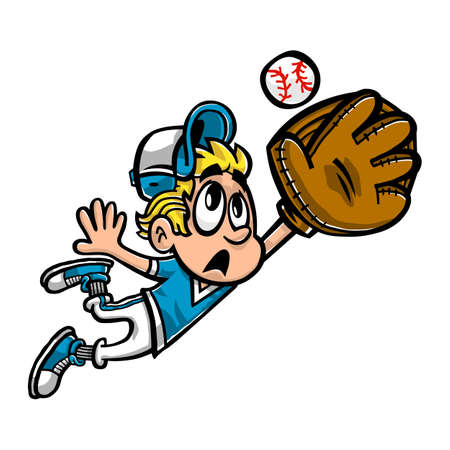 outfield: Baseball Player Kid Outfield vector cartoon